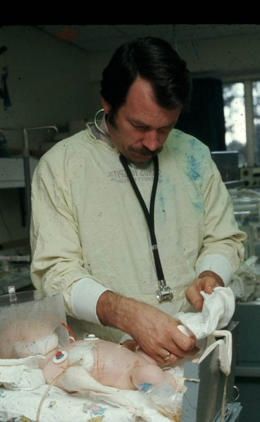 Dr. Eitzman in the Nursery